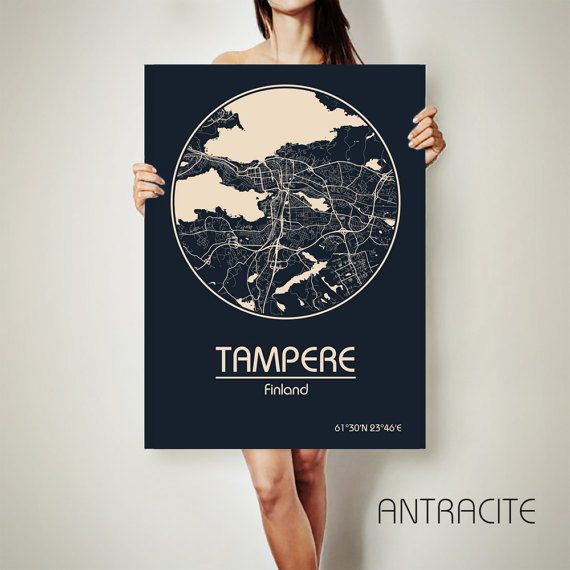 TAMPERE Finland CANVAS Map Tampere Finland Poster by ArchTravel