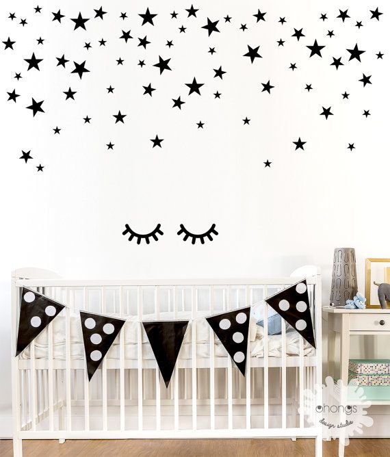 eyes wall decal / sleepy eyes sticker / kids wall decal / door
