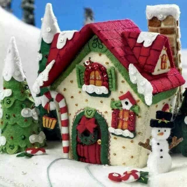 Natale para la navidad pinterest navidad fieltro y - Casitas de navidad ...