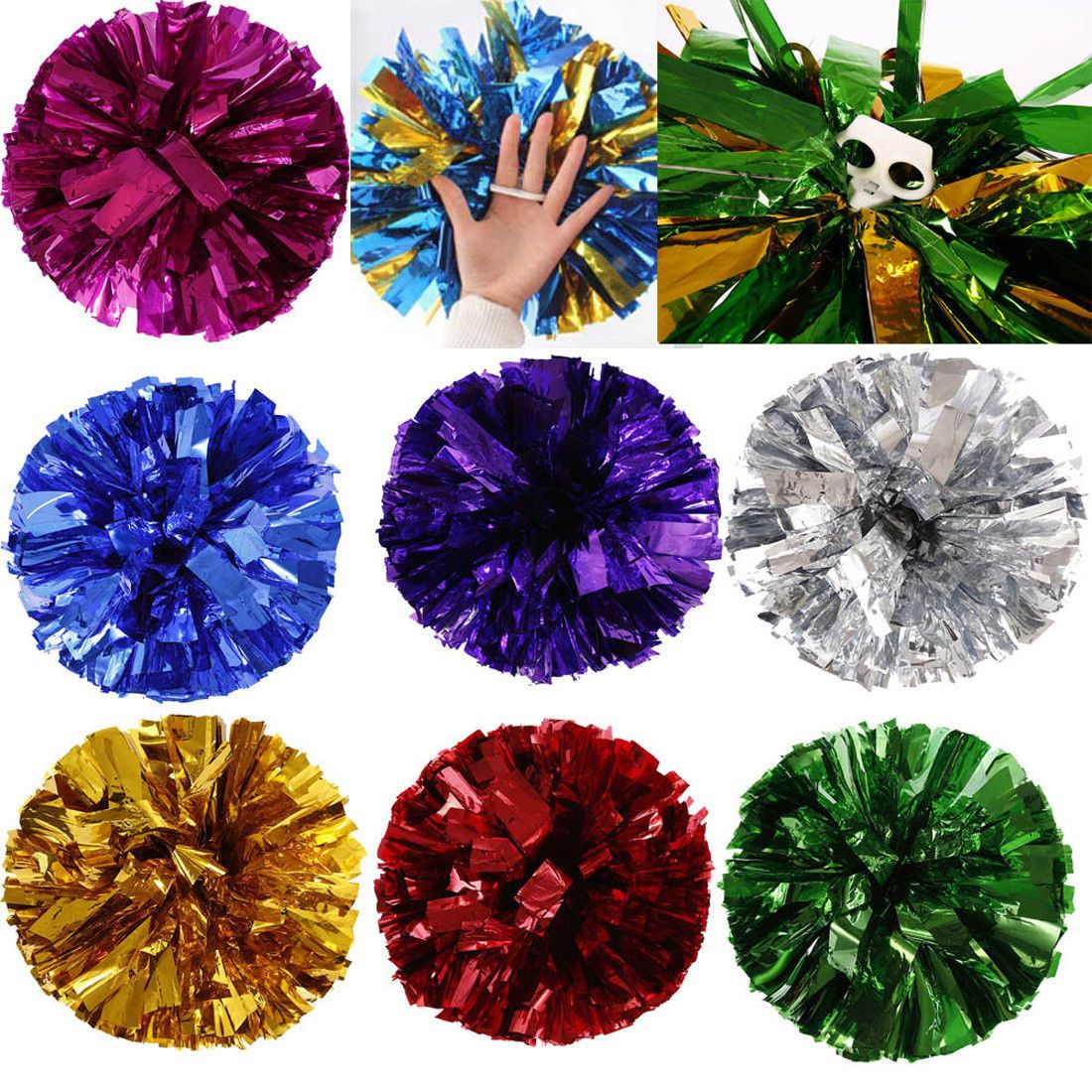 PAIR OF POM POMS POMPOM PINK BLUE PURPLE BATON PARTY FANCY DRESS CHEERLEADER