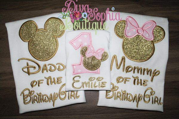 Daddy and Mommy Mickey and Minnie Shirts Set - Pink and Gold -Disney Trip Shirts 8ddRt7S5k