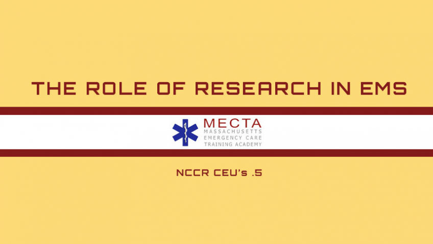 Role of Research in EMS | The Role of Research in EMS NCCR