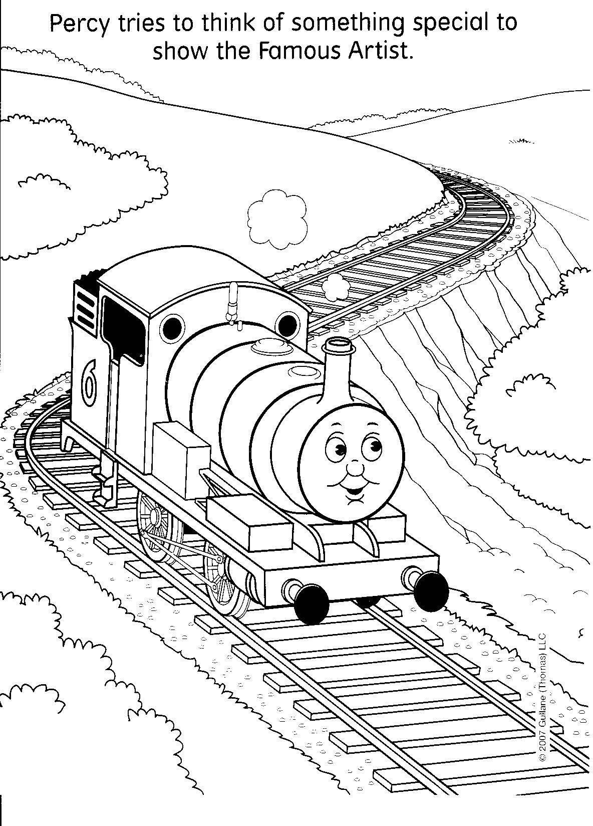 Thomas Passing Trains Coloring Page