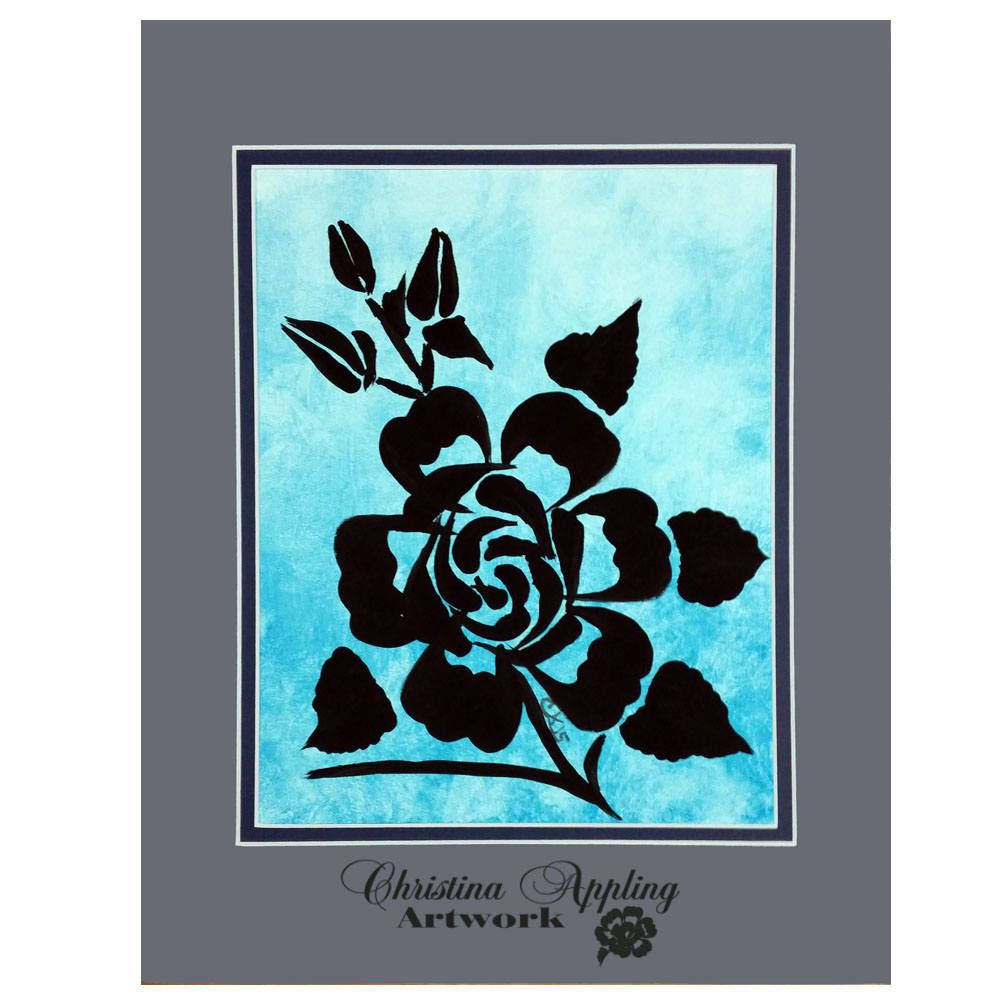 Blue textured roses double matted x acrylic painting blue