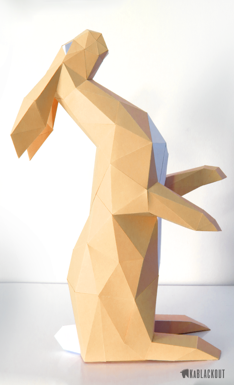 Hare papercraft papercraft rabbit easter bunny low poly hare diy