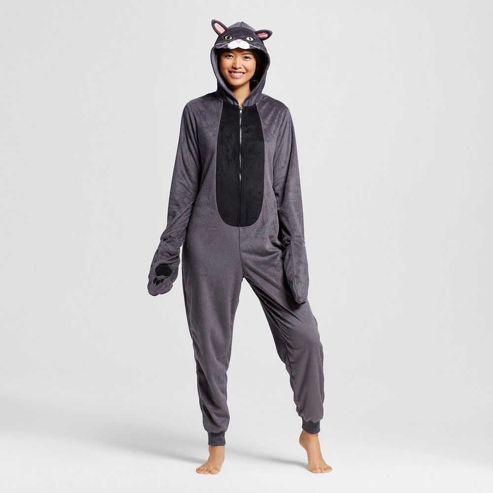 aad4a16735b Women's Cat Union Suit Pajamas - Black - Xxl - Xhilaration, Flat Grey