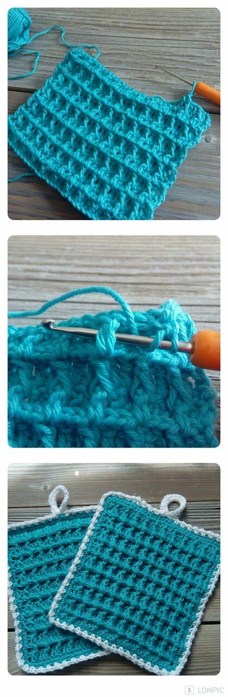 Topflappen häkeln im Waffelmuster , für Anfänger, kostenlose Videoanleitung, Carolines Welt #crochetpotholderpatterns