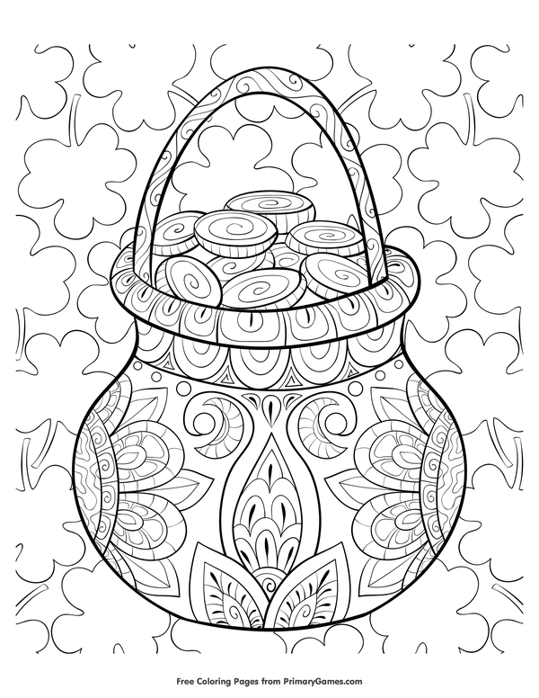 St. Patrick's Day Coloring Pages eBook: Zentangle Pot Of