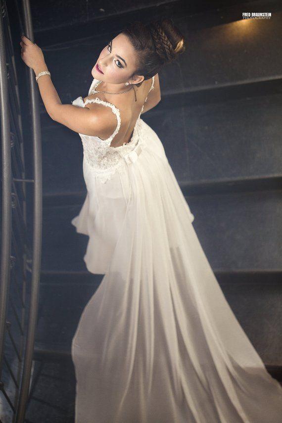 Lace Wedding Dress Long Train Low Back Lace Wedding Gown Urban