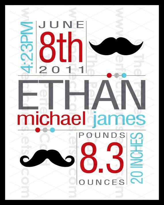 Little Man or Mustache 8x10 Custom Birth Wall Art
