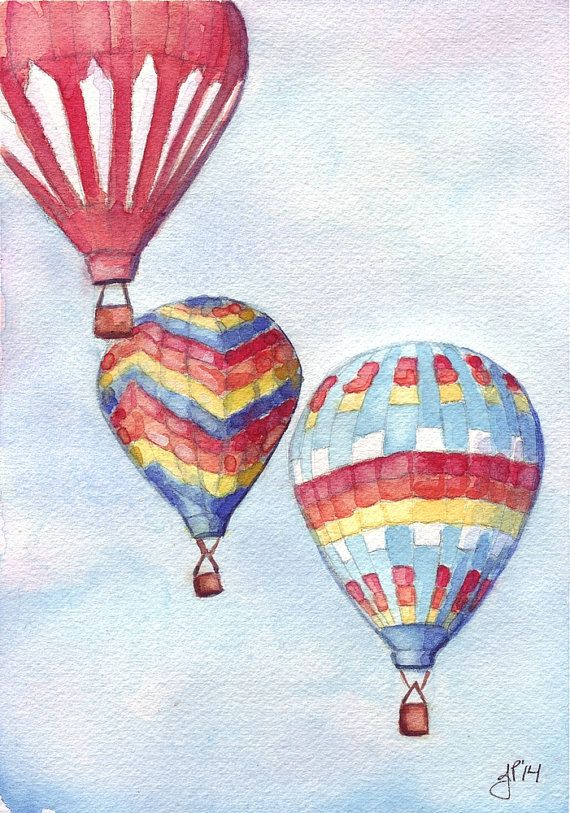 Hot Air Balloons Watercolor Painting Three Rainbow By Jojolarue