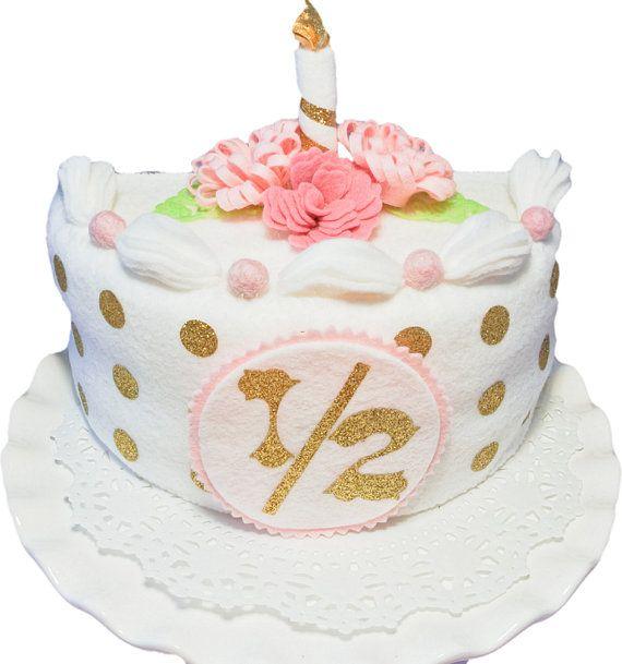Excellent Half Birthday Cake White Gold Felt Cake Baby Photo Prop Birthday Cards Printable Giouspongecafe Filternl
