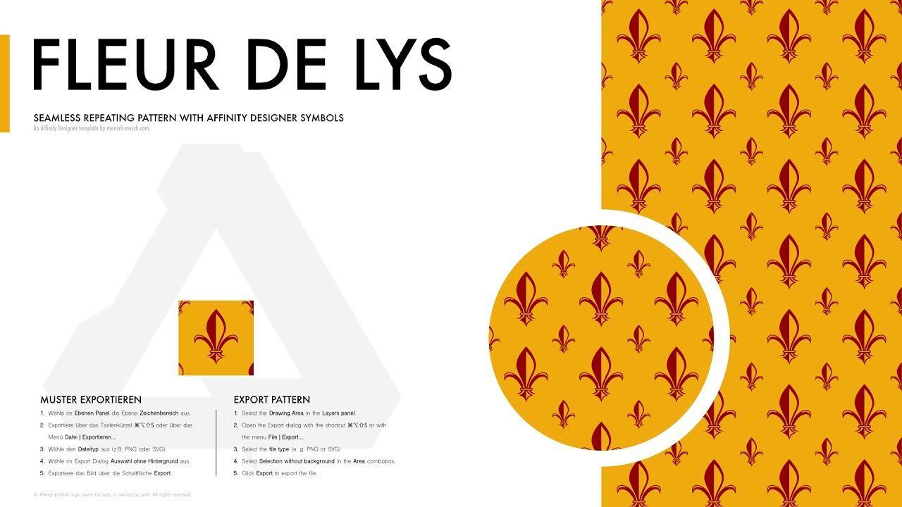 Affinity Designer Pattern - Fleur de Lys (Lilien Muster) with the #AffinityDesignerPatternTemplate for #AffinityDesigner https://mensch-mesch.com/download/download-affinity-designer-pattern-template/