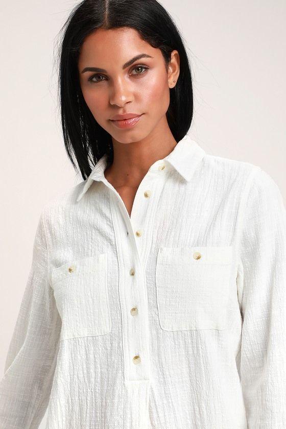 c66b51382c Lulus | Malta White Long Sleeve Shirt Dress | Size Large | 100 ...