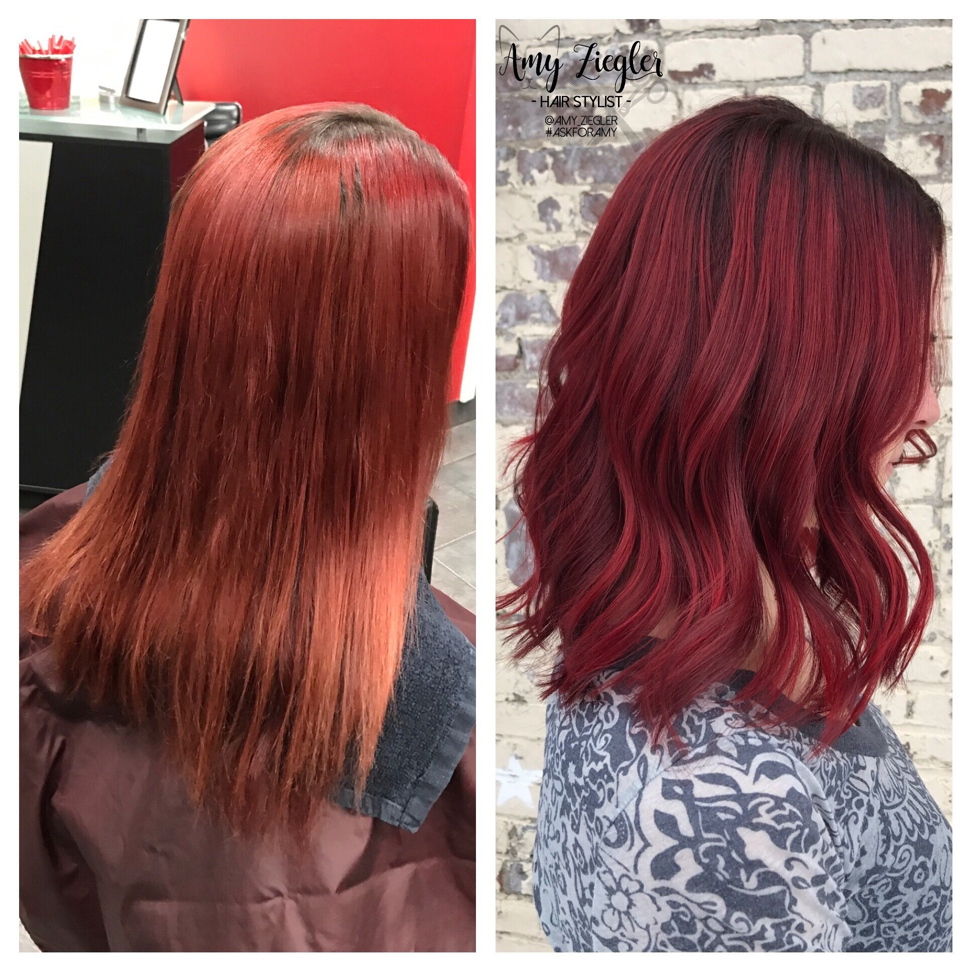 Before After Transformation Joico Red Hair With Redken Shades Cream Root Smudge By Amy Ziegler Hair Red Hair Posh Hair