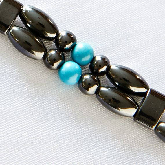 Triple Strand Magnetic Hematite Bracelet accented with Turquoise