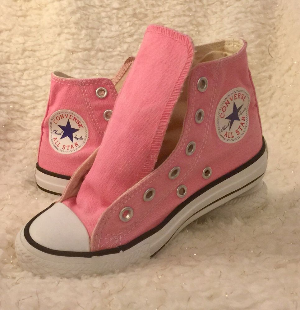ca459758739e CONVERSE All Star Chuck Taylor Girls Shoes Sz 11 Y Pink Canvas Hi Top  Sneakers