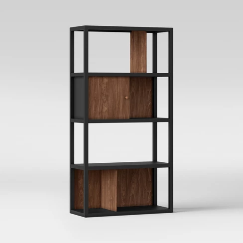 65 9 Siebert 4 Shelf Vertical Bookcase Black Brown Project 62 Target Vertical Bookcases Bookcase Shelves