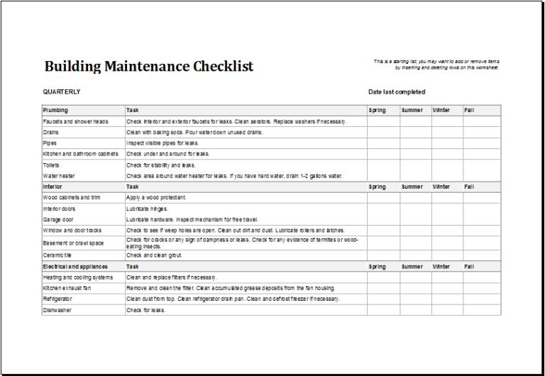 Building Maintenance Checklist Templates 7+ Free Docs