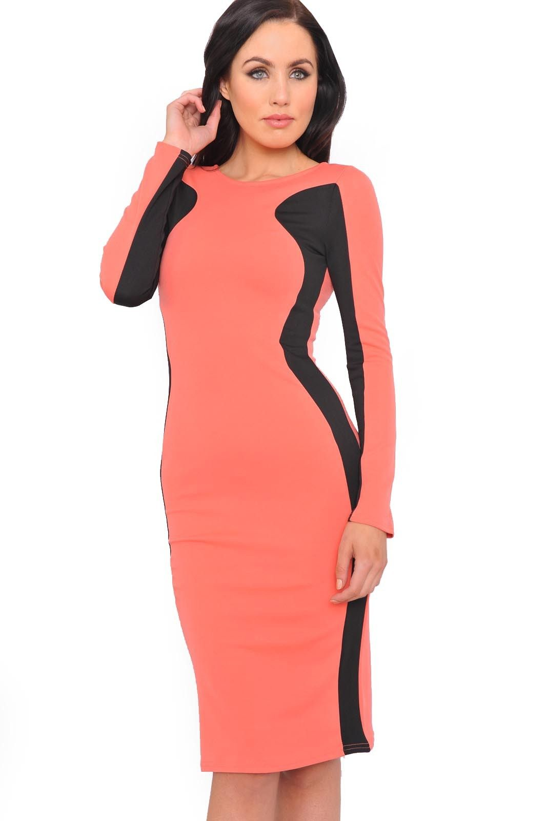 Glam up in style this season by slipping on this classic evening dress. With contrast panels and a bodycon style pencil skirt to really show off those curves. Team with ankle boots and an oversized clutch for ultimate glamour.