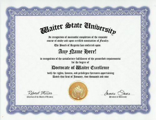 Waiter Degree Custom Gag Diploma Doctorate Certificate Funny Customized Joke Gift Novelty Item By Gd Novelty Items Joke Gifts Practical Jokes Toys Games