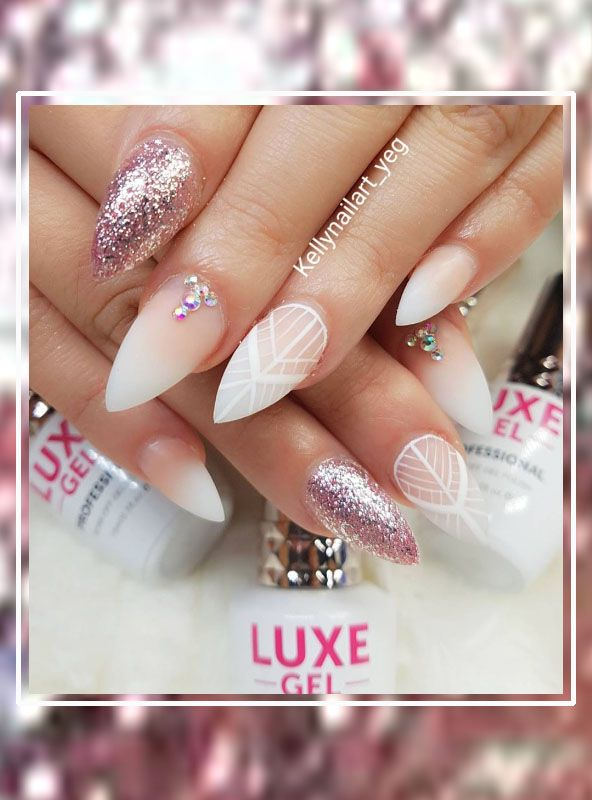 Oohlala! Awesome wedding bling bling gel nails made by nail tech ...