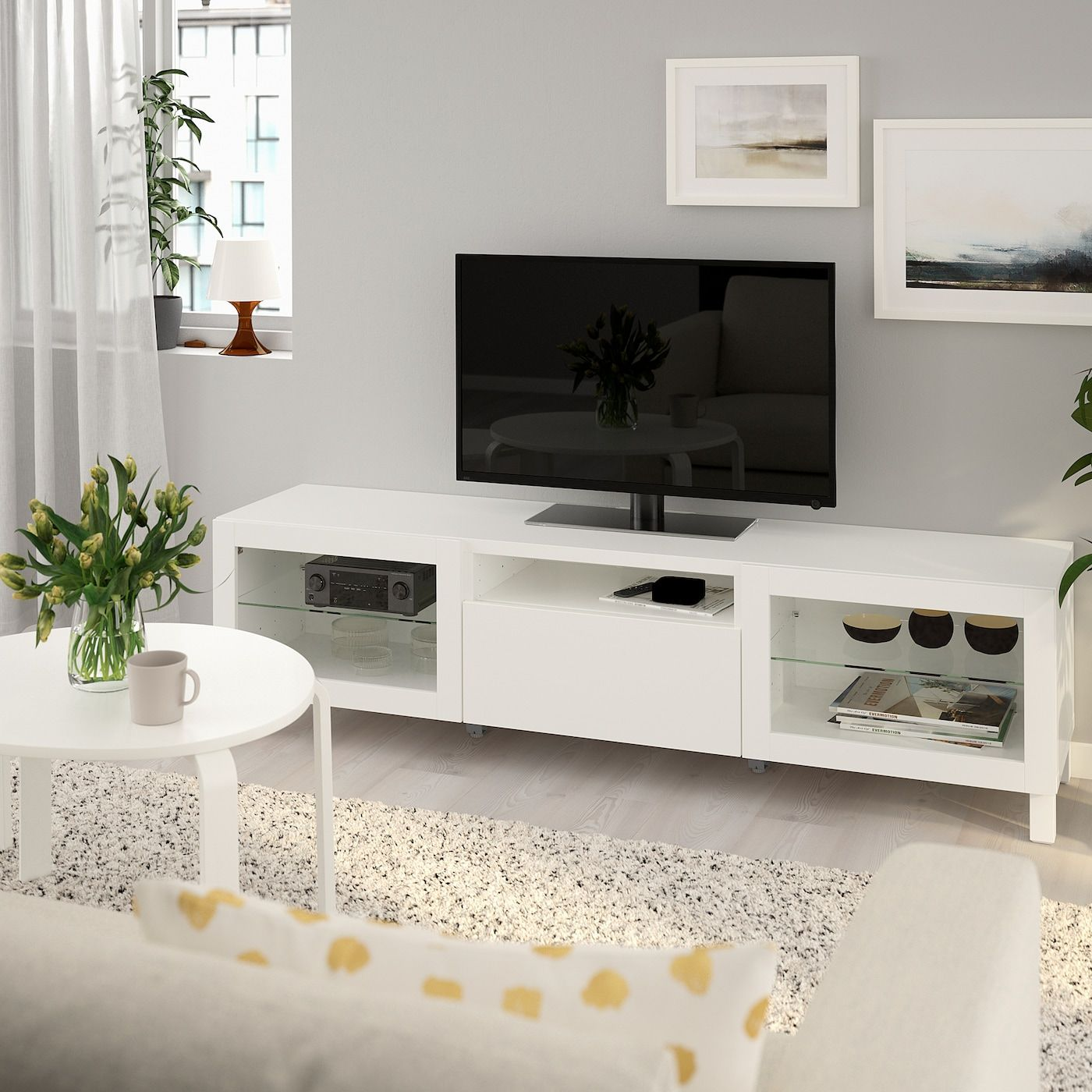 Ikea Besta Tv Bench Lappviken Lappviken Sindvik White Clear