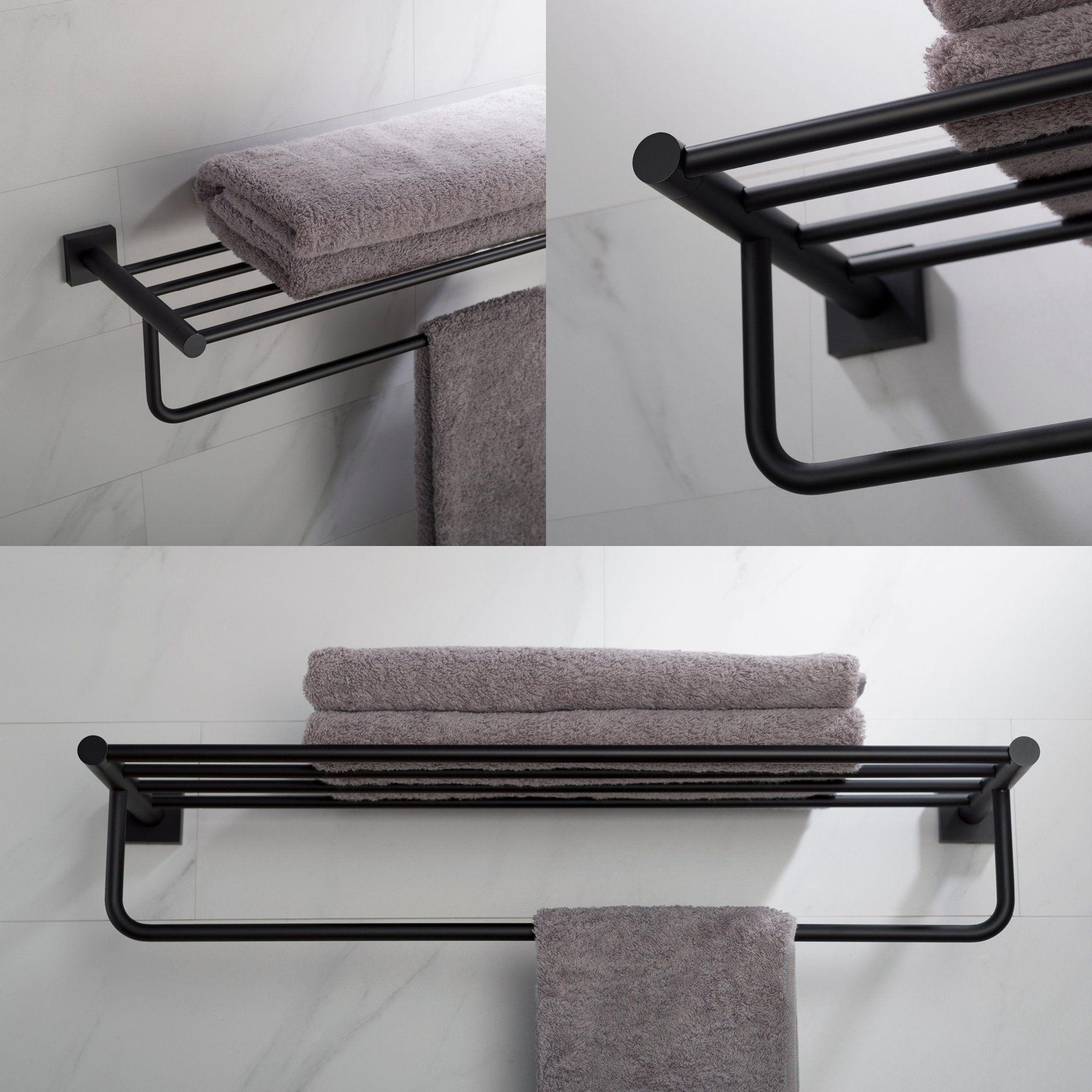 Kraus Ventus Kea 17742 Bathroom Shelf With Towel Bar In Chrome Brushed Nickel Matte Black Finish Matte Matte Black Towel Rack Towel Bar Black Towels