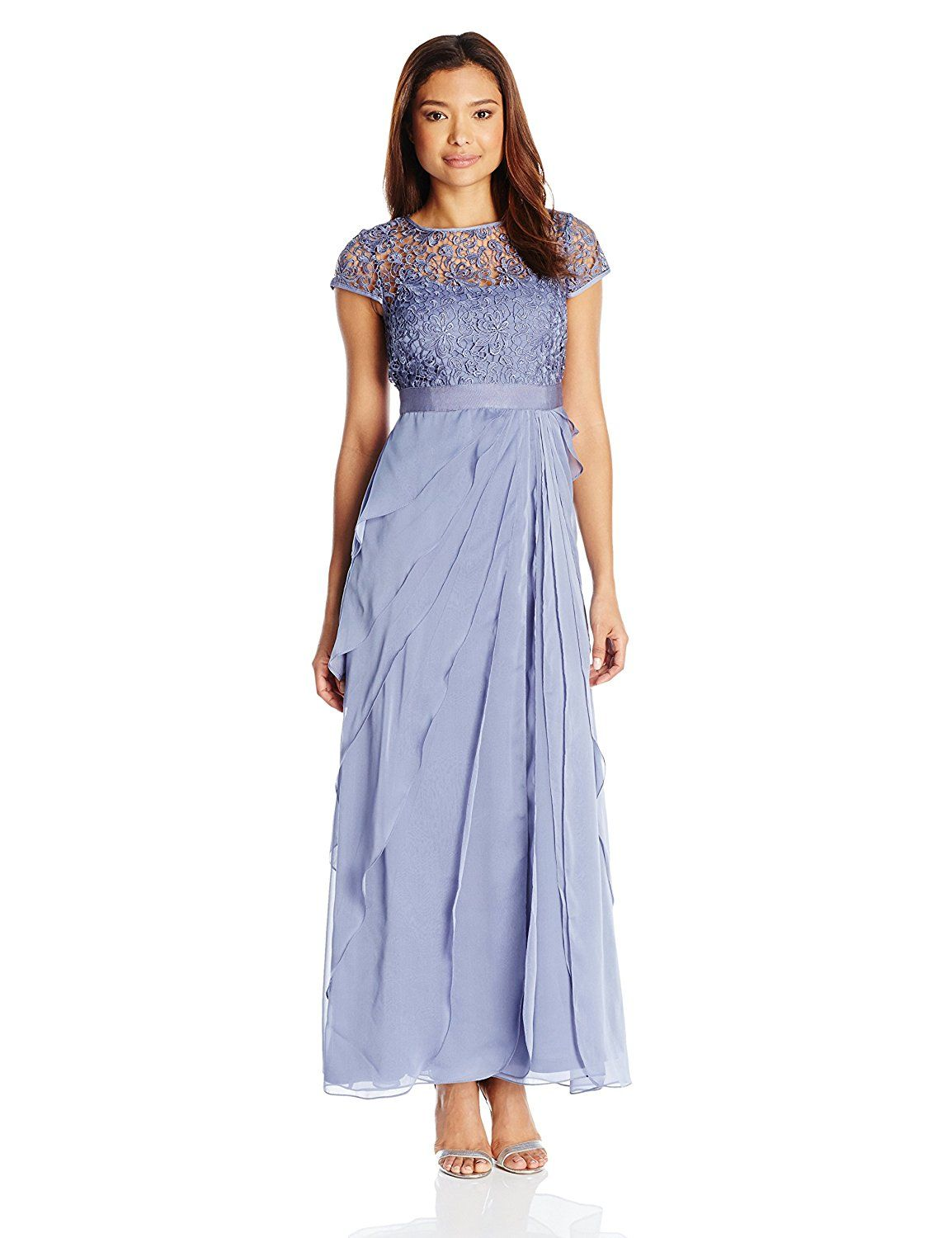 Adrianna Papell Womens Petite Chiffon Flutter Gown With Lace Bodice