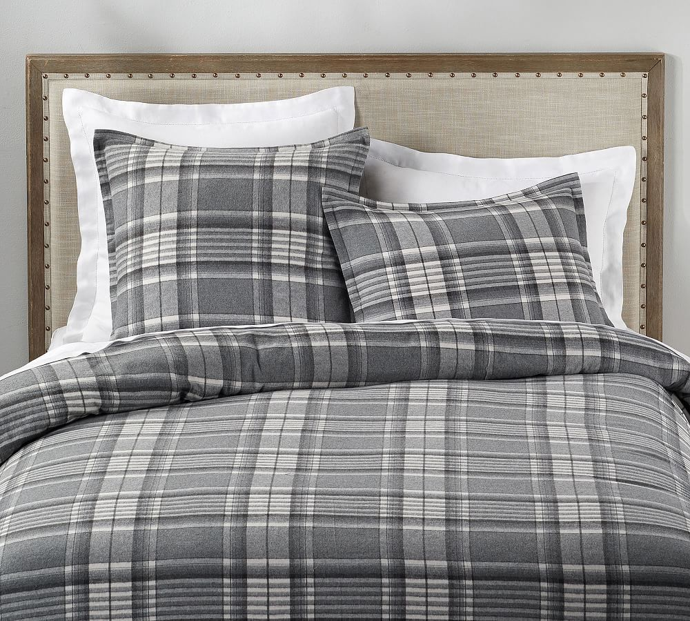Caswell Y D Plaid Duvet And Shamsf Qgray Multi Bed Linen Design