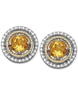 Citrine (9/10 ct. t.w.) and Diamond (1/8 ct. t.w.) Stud Earrings in 14k Gold and Sterling Silver