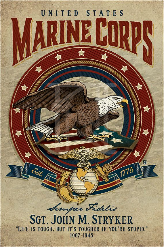 United States Marine Corps - Art Print - PERSONALIZED
