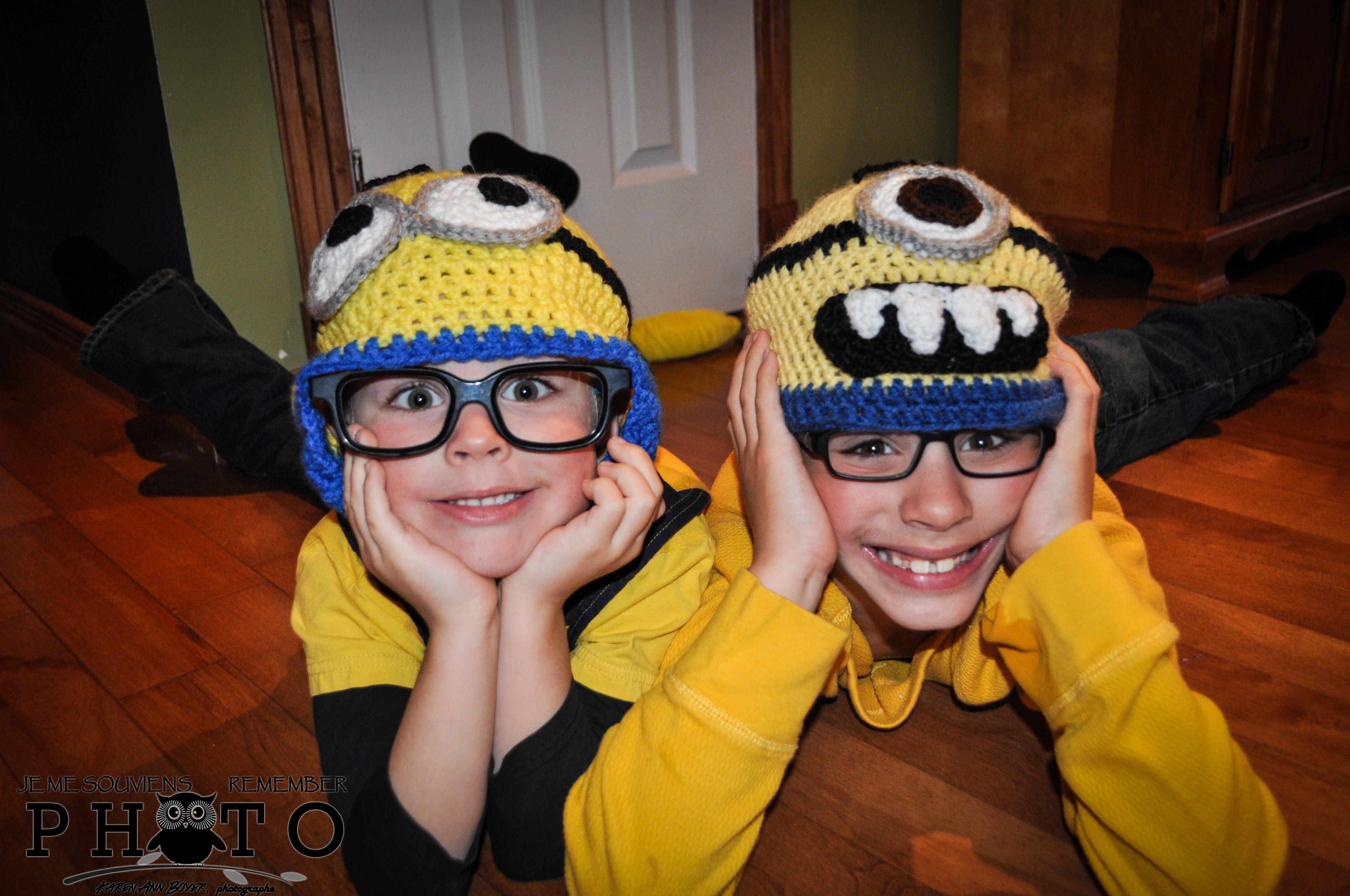 My kids, crochet minion hats, done by my friend Annie-Claude Cousineau, thanks honey xxx