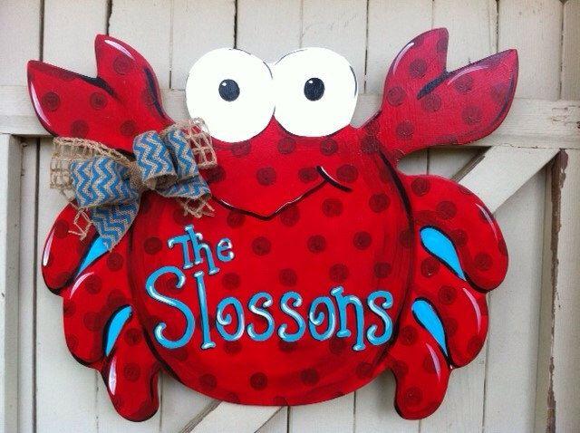 Photo of Crab Beach Wooden Door Hanger Personalized Monogram Burlap Bow