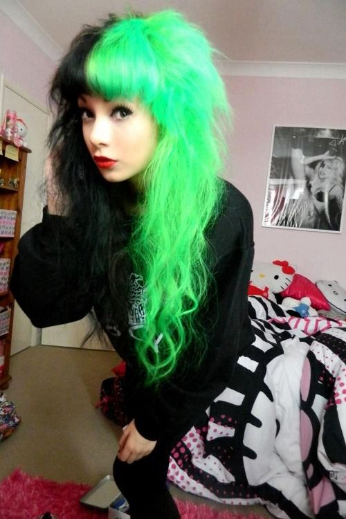 Half Amp Half Neon Green Amp Black Hair Green Hair Hair Styles Half And Half Hair