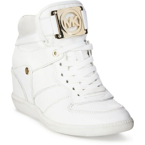 Michael Michael Kors Nikko Lace-Up High-Top Wedge Sneakers (£135) ❤ liked on Polyvore featuring shoes, sneakers, optic white, metallic sneakers, wedged sneakers, high top wedge sneakers, metallic wedge sneakers en white shoes