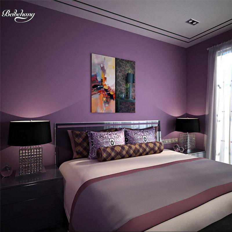 Beibehang Romantic Purple Long Fiber Nonwovens Wallpaper Plain Color Matte Living Room Bedroom Tv Wallpaper Sim Living Room Bedroom Purple Bedrooms Bedroom Red Purple bedroom wallpaper ideas