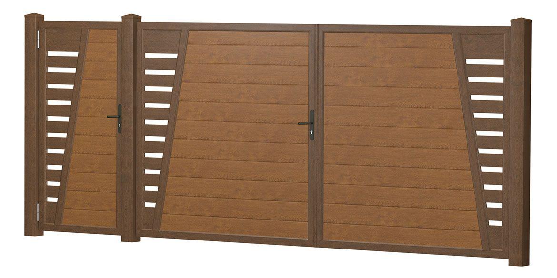 Privacy screen courtyard gate-door combination plastic – Golden Oak -…