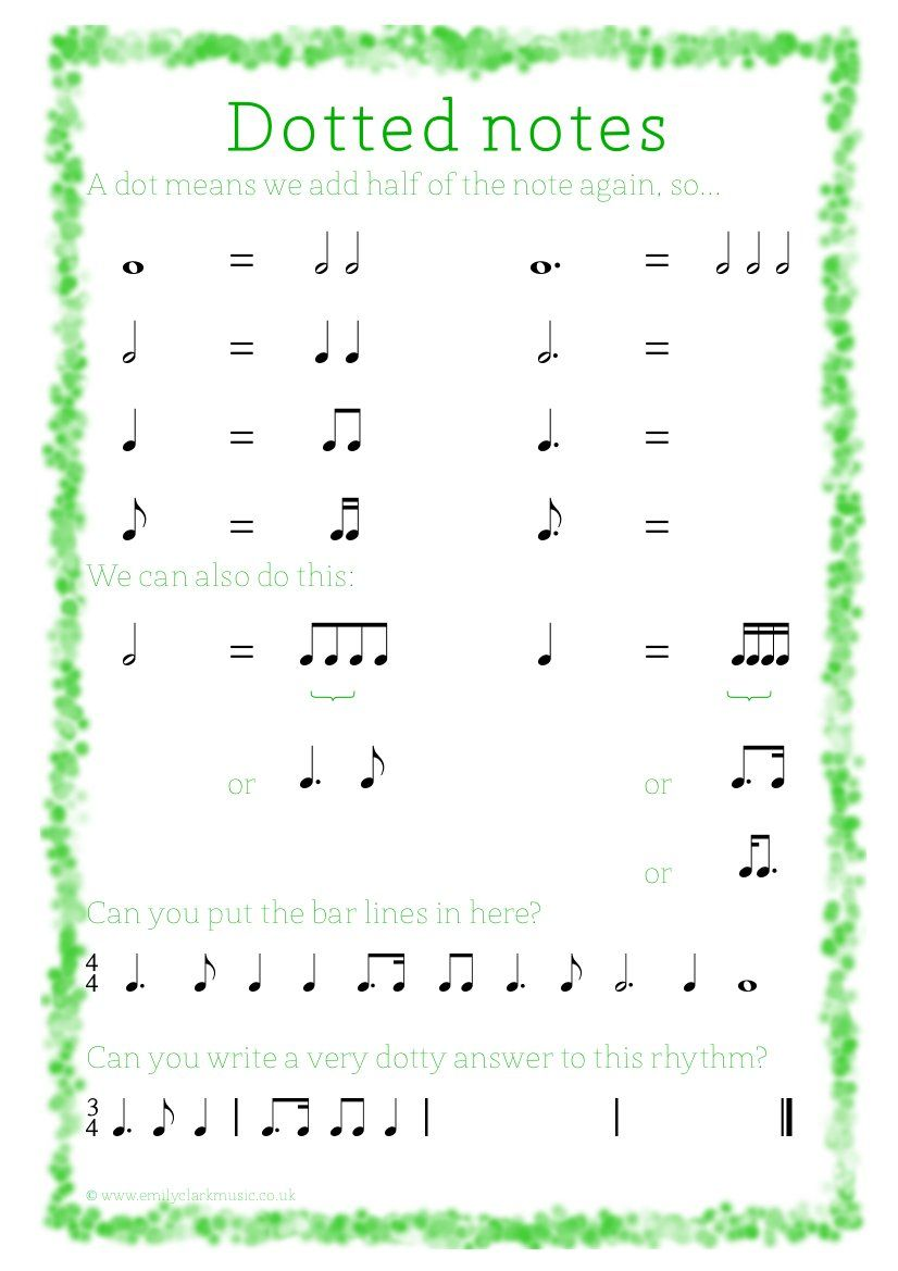 Uncategorized Note Values Worksheet dotted notes music education pinterest note count and names notes