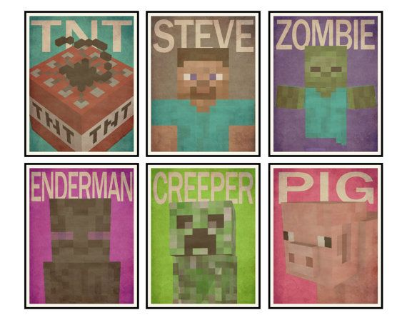 Printable 11x14 Posters Minecraft Inspired Wall Art Minecraft Wall Minecraft Posters Kids Bedroom Decor