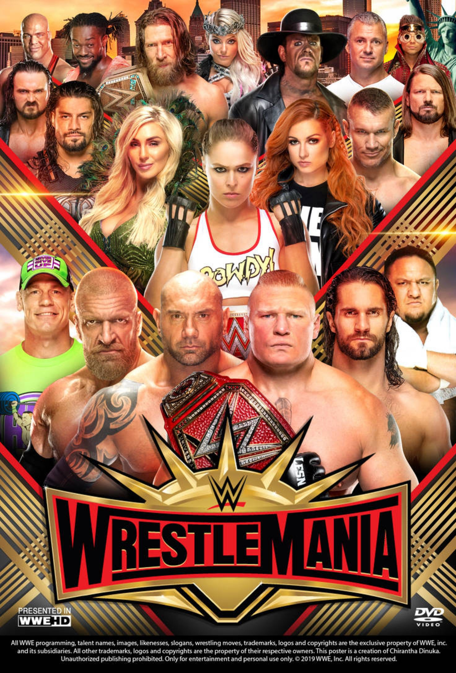Wwe Wrestlemania 35 Poster By Chirantha On Deviantart With