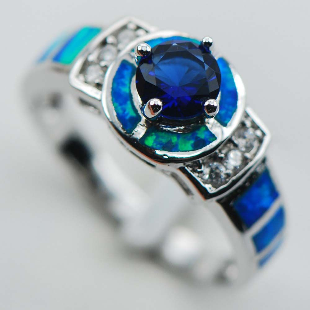 wholesale product fire black and sapphire blue dropship ring opal rings with img