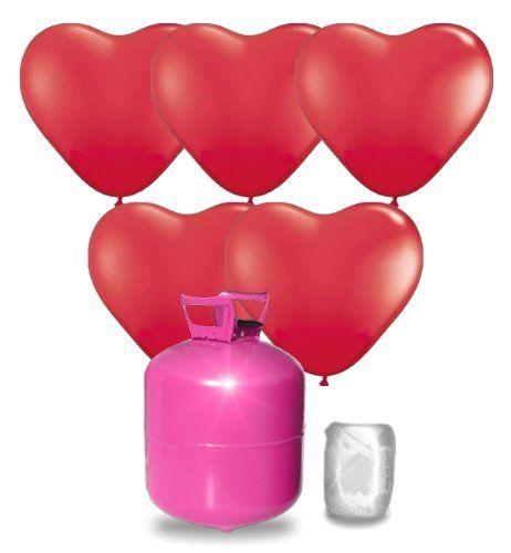 Helium Ballongas Set mit 55 roten HerzLuftballons