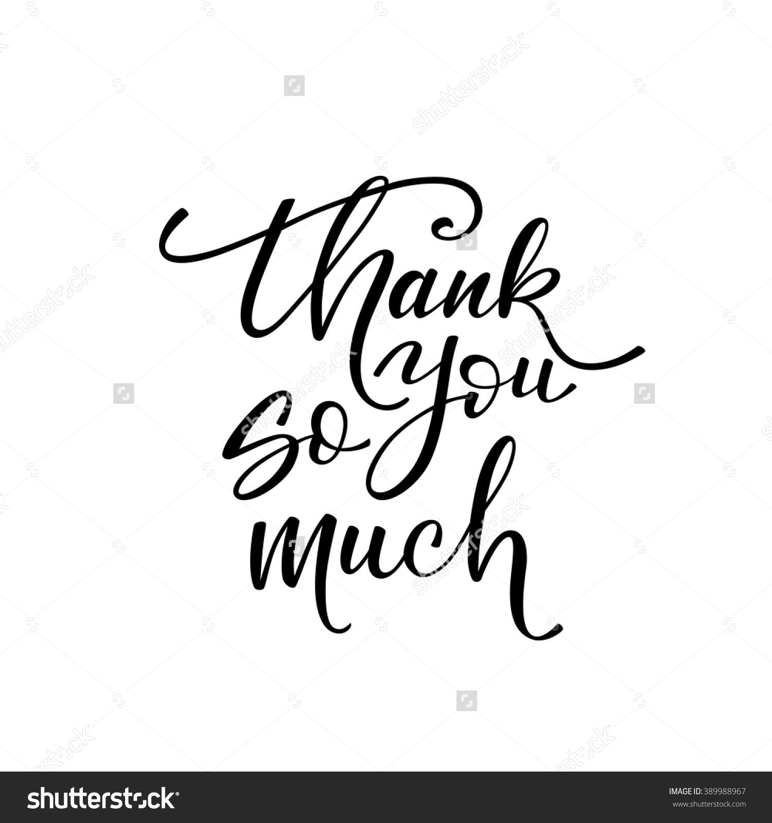 Thank you so much card hand drawn greetings lettering