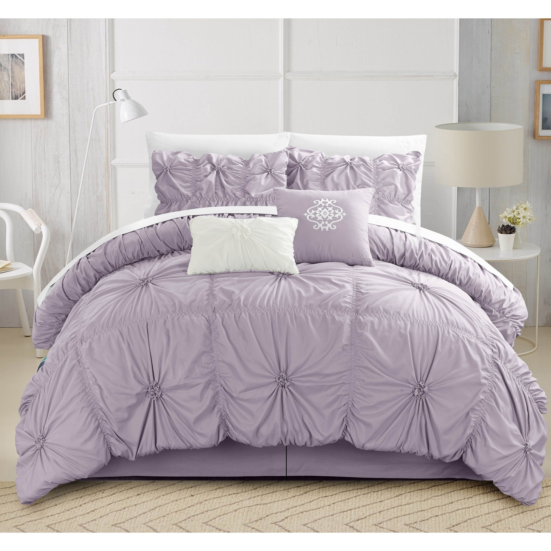 Gracewood Hollow Le Guin Purple Pleated 6 Piece Comforter Set
