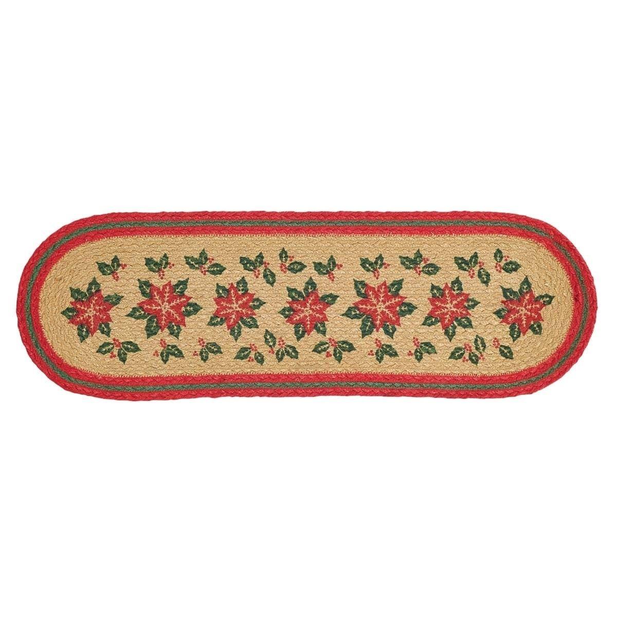 Best Tan Rustic Holiday Decor Vhc Poinsettia Stair Tread Jute 640 x 480