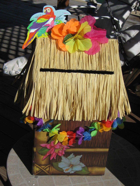 Tiki Hut Card Box Luau Graduation Party Beach Wedding