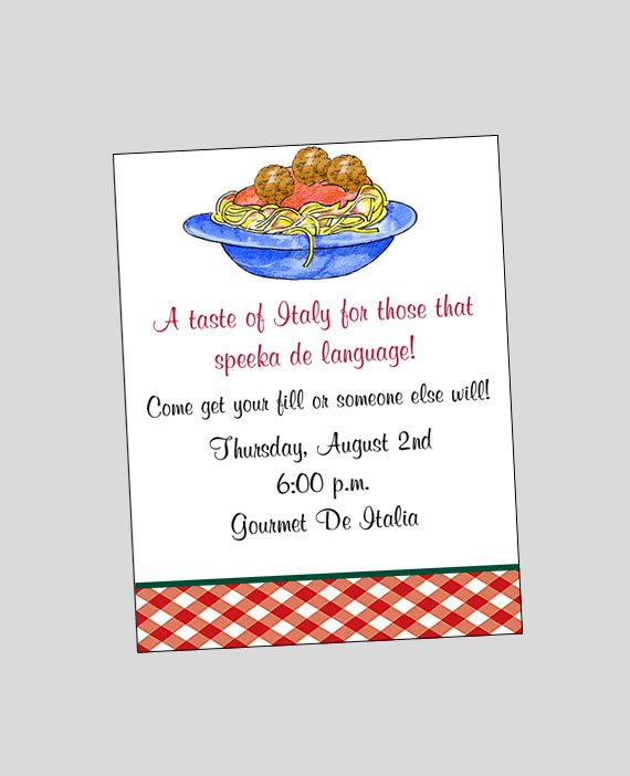 Spaghetti Pasta Invitation Printable Italian by wackykracker - invitation wording ideas for dinner party