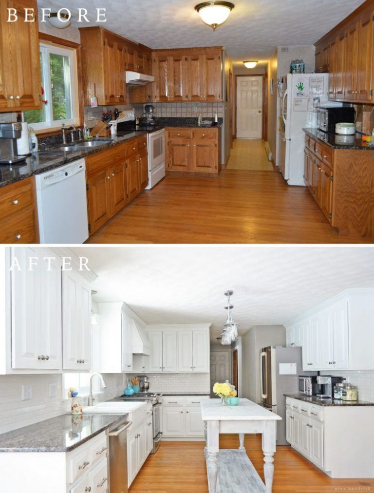 Diy white painted kitchen cabinets reveal white paints for Update white kitchen cabinets