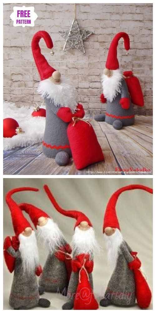 Christmas Craft: DIY Santa Clause Fabric Toy Sew Pattern & Tutorial #christmasgnomes